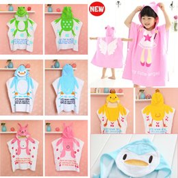 pink robes wholesale Canada - 11 Styles Hooded Baby Girl Bathrobe 100% Cotton Baby Beach Gown Beach Towels Baby Cloak Cape Baby Bath Towel Kids Bath Robes