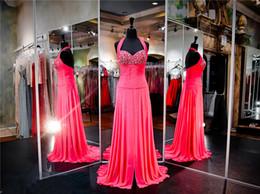 Gold Drop Waist Dress Canada - Fuchsia Chiffon Drop Waist Prom Dress Ruched Waistline Hand Beading Fully Skirt Front Slit Halter Evening Dress