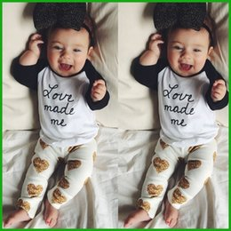 $enCountryForm.capitalKeyWord Canada - 2016 baby Girl clothes set cotton Fashion letter printed T-shirt+Heart print pants 2pcs Infant children female outfits free shipping