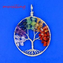 Reiki Healing Wholesalers Australia - Life Tree Pendants Pendulum Natural Stone Pendant Round Reiki Charms Accessories European Healing Amulet Fashion Jewelry For Women