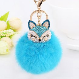 Barato Raposa De Coelho Artificial-Artificial Rabbit Fur Ball Keychain para Bolsa Chaveiro Chaveiro Cute Fox Inlay Simulated Pearl Pendant Key Chains Incrível