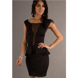 See Through Clubwear Dresses Canada - Celeb Style Womens Black Ball Gown See Through Mesh Bodycon Party Pencil Dress Sexy Mini Dress Clubwear