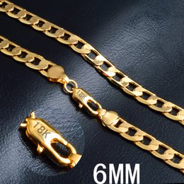 "$enCountryForm.capitalKeyWord Canada - 6 mm*20"" side chain 18k gold plated necklace fashion personality sautoir Man woman gold couples necklace 2pcs lot retail"
