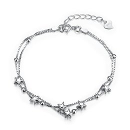 925 silver box link chains NZ - Simple & Lovely 925 Sterling Silver Puff Stars Double Chain Link Bracelet Jewelry