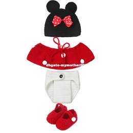 $enCountryForm.capitalKeyWord Canada - Mouse Ears Baby Photography Props Knitting Hat Crochet OutfitGirls Bow Hat Photo Accessories Clothing