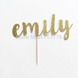 Custom Name Cake Toppers Canada - Wholesale-Custom Name Glitter Cake Topper for Birthday, Anniversary and Special Event Cupcake toppers wedding Engagement