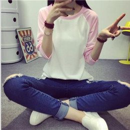 dame große größe lange hemd großhandel-Neue Frauen beiläufige lose Baumwolle Langarm reine Solor Stitching Big Size Casual Top Bluse Shirt Tops Mode T Shirt für Damen Kleidung