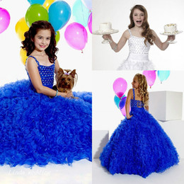 Cute Yellow Cupcakes Canada - High Quality Cute Beauty Royal Blue White Girl's Pageant Dress Princess Organza Party Cupcake Flower Girl Pretty Dress For Little Kid
