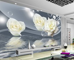 Discount fresh white rose flowers - Fresh Elegant White Rose Flower Bubble Photo Wallpaper Living Room Background Wall 3D Mural Eco-Friendly Moisture-Proof