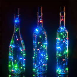 Discount copper outdoor decor Wholesale- 1M 10 LED Wine Bottle Cork LED Lights Copper Wire String Lights for Bottle DIY Decor,Outdoor BBQ,Gathering,Pa