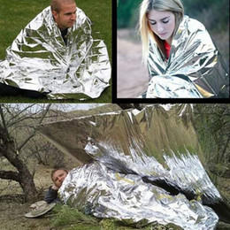 Wholesale 210*130cm Outdoor Sport Climbers Life-saving Military Emergency Blanket Survival Rescue Insulation Curtain Blanket Silver Hot Sale 2501040