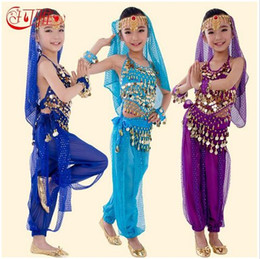 Barato Dança Do Ventre Traje Conjunto Azul-2016 New Handmade infantil Trajes de dança do ventre Belly Crianças das meninas de dança de Bollywood indiana Desempenho todo pano Set 6 cores
