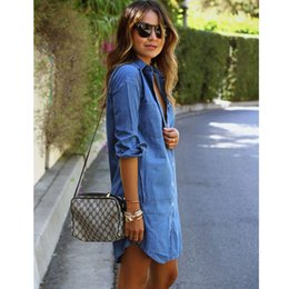 Robe De Soie Denim Pas Cher-Denim Dress Women Plus Size Tunique Slim Summer Style Robe courte Slim Casual Jeans Robes Vestidos Robe Femme