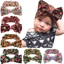 Headbands for big baby Heads online shopping - 2016 Baby Girls Bohemia Headbands Bows Kids Floral Bowknot Headband Big Bows Head bands for Newborn Children Cotton Hair Accessories KHA392
