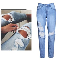 Discount girl rip jeans - Women's Hole Ripped Jeans Girls Hip Hop Club Bottoms Fashion Blue Washed Denim Pants Loose Casual Jeans BSF0343