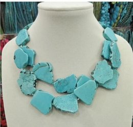 Wholesale New Arrive Turquoise Slice Stone Choker Necklace Handmade Woman Gift Layer