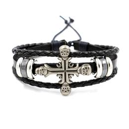 f035dabab9c7 Gothic Rock Scene Accessories Pulsera de cuero personalizada Cross Skull  Bangle Personality Wristband Infinity pulsera para hombre Moda
