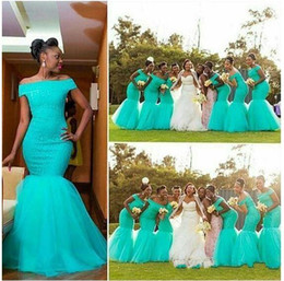 Barato Organza Azul Prom-Africano Aqua Blue Mermaid Bridesmaids Vestidos fora do ombro Mangas curtas Corpete Lace Tulle Prom Bridesmaid Maid of Honor Dresses