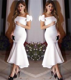 Images White Evening Dresses Australia - White Short Mermaid Party Dresses With Bow On Shoulder 2017 Bateau Sheath Tea Length Prom Dresses Evening Formal Dresses Cheap