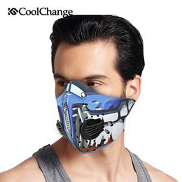 Filter Mask Bike Canada - Wholesale- CoolChange Cycling Mask Fitness Filter Carbon Bicycle Bike Training Half Face Mask Sports Anti Smog Pollution Facemask Men Women