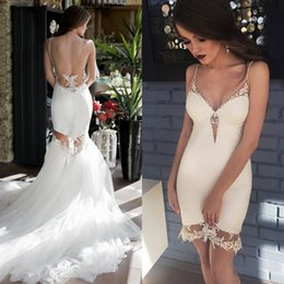 $enCountryForm.capitalKeyWord Australia - Sexy Detachable Wedding Dress Spaghetti Straps Sheer Sheath Short Wedding Dresses Removable Tulle Skirt Lace Appliques Backless LS
