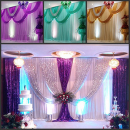 backdrops swags Canada - wedding stage curtain with Beatiful Swag Wedding drape and curtain wedding backdrop 3m*6m marriage stage curtain