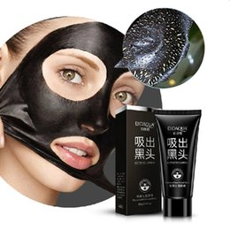 Face Resist Mask Canada - Wholesale BIOAQUA Suction Black Mask Deep Cleansing Facial Mask Tearing Style Resist Oily Skin Strawberry Nose Acne Remover Black Mud Masks