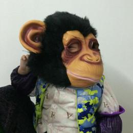 Back Hair Men Canada - On Sale Cosplay Monkey mask Cute Gorilla Mask Creepy Latex Mask short hair animal head Scary Halloween Party Mask