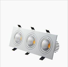 Dimmable led puck ceiling lights dhgate uk recessed led dimmable downlight 3 head square led down lights cob 15w 21w 30w 36w spotlight ceiling lamp ac85 265v led puck lights mozeypictures Image collections