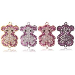 Micro Pave Connectors Australia - Copper Micro Pave Zircon Lovely Bear Connectors, 18K Gold Teddy Bear Charms For Bracelets Necklaces Jewelry Craft DIY Findings