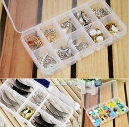 Discount plastic candy holders - New Arrive Slots Compartment Adjustable Jewelry Necklace Clear Storage Box Case Holder Craft Organizer