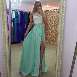 cheap sheer top prom dress Australia - Cheap High Quality Mint Prom Dress Lace Top Sheer Bateau Neckline Sleeveless High Split Evening Gowns Graduation Homecoming Formal Wear