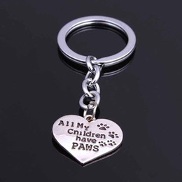 Discount hot dog lovers - New Fashion Animal Jewelry All My Children Have Paws Heart Animal Dogs Key Chain Women Keychain Silver Plating Hot selli
