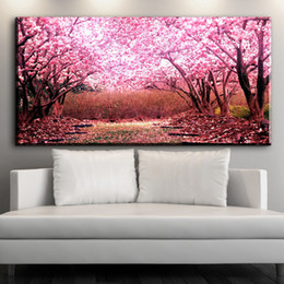 Cherry blossom landsCape painting online shopping - ZZ1545 modern decorative canvas art beautiful Cherry blossoms flower canvas pictures oil art painting for livingroom bedroom art