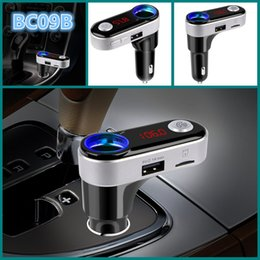 Iphone Stereo Player Australia - BC09B Bluetooth Car Kit Car Speakerphone BT Hands Free Dual FM Transmitter Port 5V 2A Music Player For Samsung iPhone Mobile