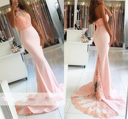 Barato Peach Backless Vestidos-Venda Por Atacado Sweet Light Peach Mermaid Dresses Evening Wear with Lace Top Beaded High Neck Sheath Prom Dresses Backless Long Evening Gowns