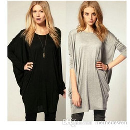 79b93af7 2017 Autumn Oversized T Shirts Baggy Women Long Sleeve Tops Tee Casual Women  Clothing Loose Bat Pullover T-shirt Batwing Sleeve XZ-056