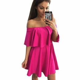 Cute Plus Size Dresses NZ - Wholesale-2016 sexy slash neck pleated summer dress cloak sleeve cute ruffles dress women plus size casual beach dress vestidos