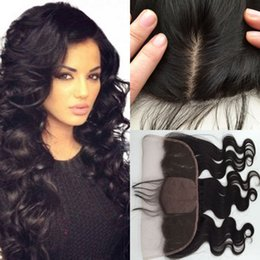 """Knotting Hair Styles Canada - 7A grade brazilian Virgin free style silk base Lace Frontal Closure 13x4"""" Bleached Knots 10-24"""" body wave hair Full Lace"""
