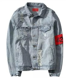 Barato Chaqueta Denim Hombre-424 Nova Euro-America High Street Destruir Washed Distressed Denim Jacket Men Tide Brand Loose Jacket chaqueta hombre kanye west