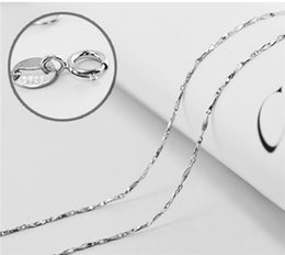 $enCountryForm.capitalKeyWord Canada - 925 sterling silver jewelry woman girls necklaces chains diy pendants ingot chains thin white gold shiny choker fashion valentines gift 6pcs