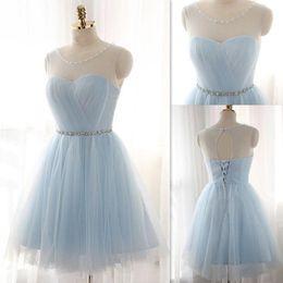 6f1151f51 Vestidos de baile cortos 2016 pura cuello redondo espalda abierta con  cordones vestidos de fiesta luz cielo azul con cuentas de tul acanalada  Mini vestido ...