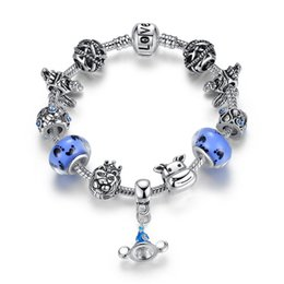 Silver European Style Bracelet Chain NZ - Fashion Pandora Style Charm Bracelets with Blue Murano Glass Beads & Cow Silver Charms & Dangles European Snake Chain Bangle Bracelets BL132