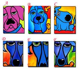 $enCountryForm.capitalKeyWord Canada - Free Shipping Handmade Animal paintings on Canvas Pop Colourful wall Art For wall Decor Modern Abstract Dogs oils paints for living room
