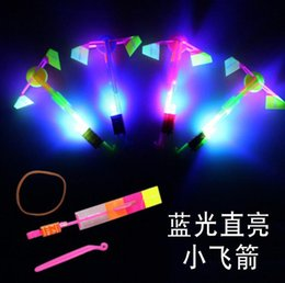 $enCountryForm.capitalKeyWord NZ - flying toy helicopter flash Arrows rubber band LED Amazing flying arrows helicopter umbrella light parachute LED gifts kids toys