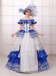 medieval gowns white Canada - royal blue white ruffled flower embroidery ball gown Medieval Renaissance Gown queen cos Victorian dress  Antoinette  Belle ball