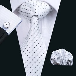 $enCountryForm.capitalKeyWord NZ - Trendy Men's Suits Necktie Silk White Plaid With Black Polka Dotw Ties For Mens Business Bridegroom Neck Tie N-0240