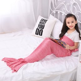 mermaid tail costume for kids 2019 - 140*70cm Knitted Mermaid Tail Blankets Handmade Mermaid Tail Knit Sofa Nap Blankets Costume Cosplay For Kids discount me