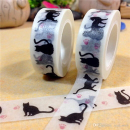 Printed masking taPe online shopping - 2017 new Halloween Cat Washi Tape washi tape cat Masking washi Adhesive Tape Kawaii Stationery white color