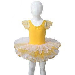 Leotard De Ballet Jaune Pas Cher-Kids Party Dress 4 couches Tutus coton jaune / Lycra Puffy manches courtes Justaucorps Tutu pour la performance
